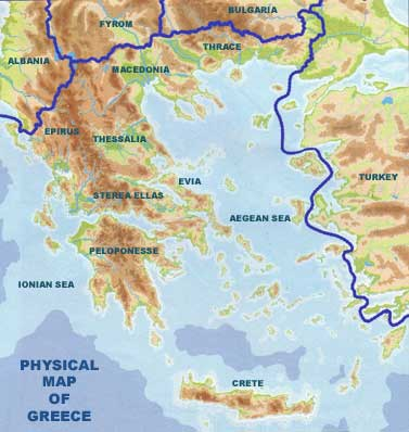 Greece is located in souteastern Europe and borders Turkey, Bulgaria,